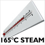 165 degrees Celsius steam produced by Jetvac Inox
